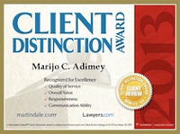 Client Distinction Award 2013, Marijo C. Adimey